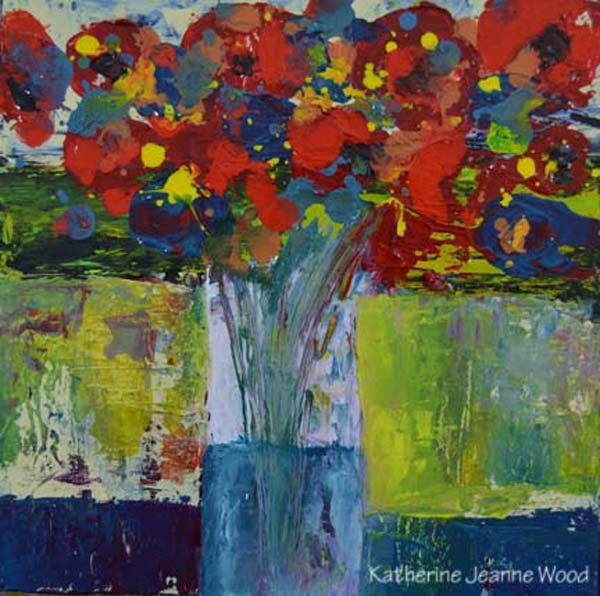"""Colorful acrylic flower painting No 54"" original fine art by Katie Jeanne Wood"