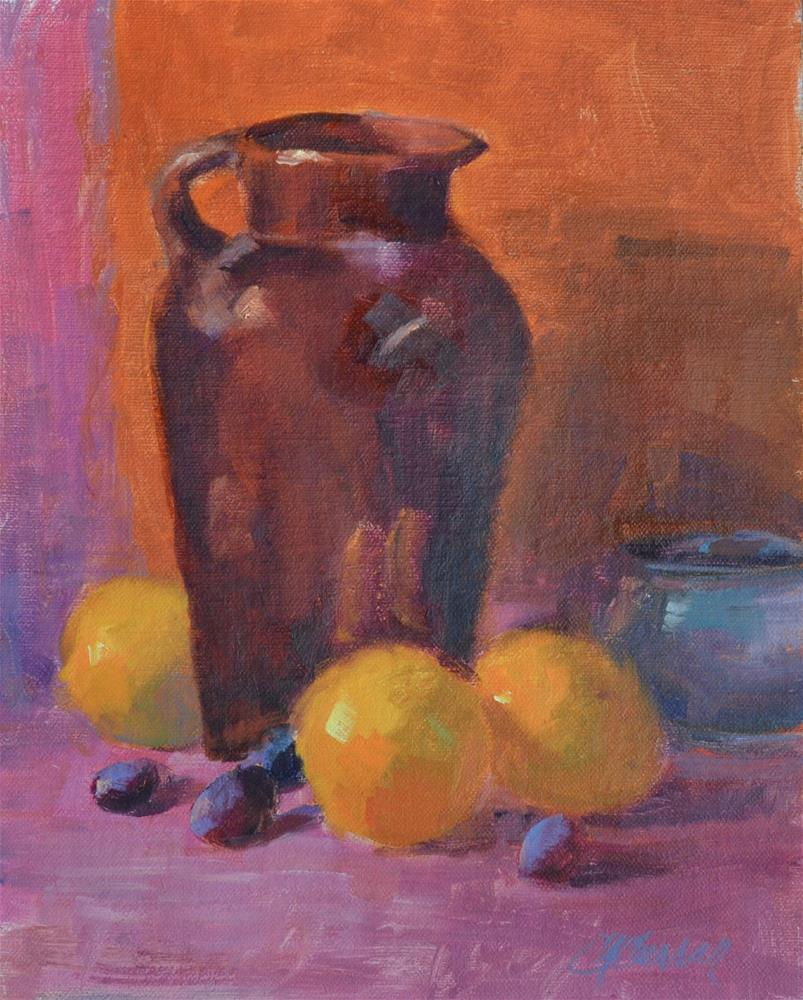 """Fruit & Crockery"" original fine art by Cheryl A Curran"