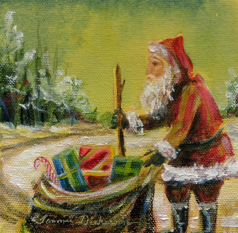 """Santa and His Bag - miniature"" original fine art by Tammie Dickerson"