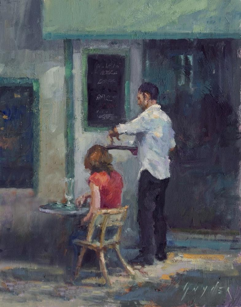 """Café Le Pecheur"" original fine art by Julie Snyder"