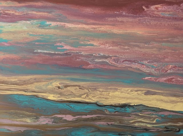 """Abstract Landscape,Sunset Art Painting Soft Reflections by International Contemporary Landscape Ar"" original fine art by Kimberly Conrad"