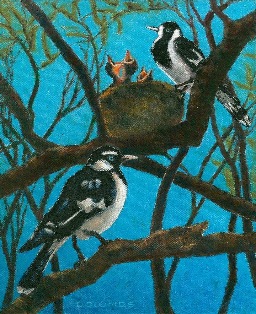 """339 AUSTRALIAN MAGPIE-LARK"" original fine art by Trevor Downes"