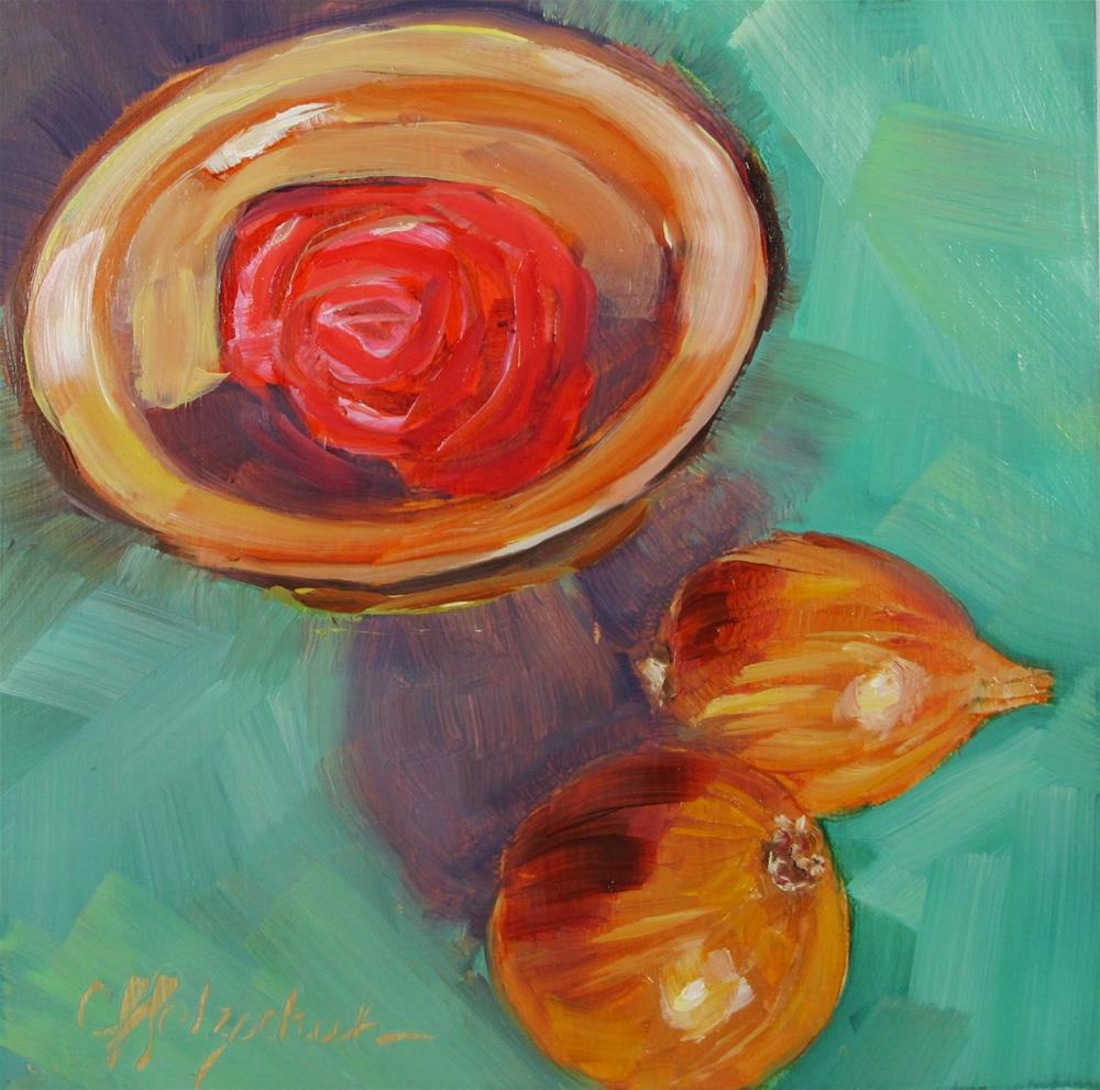 """Radish Rose and Onions"" original fine art by Christine Holzschuh"