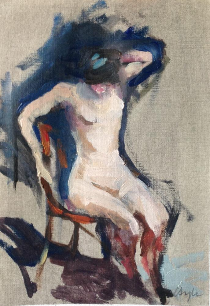 """Seated nude"" original fine art by Christine Bayle"