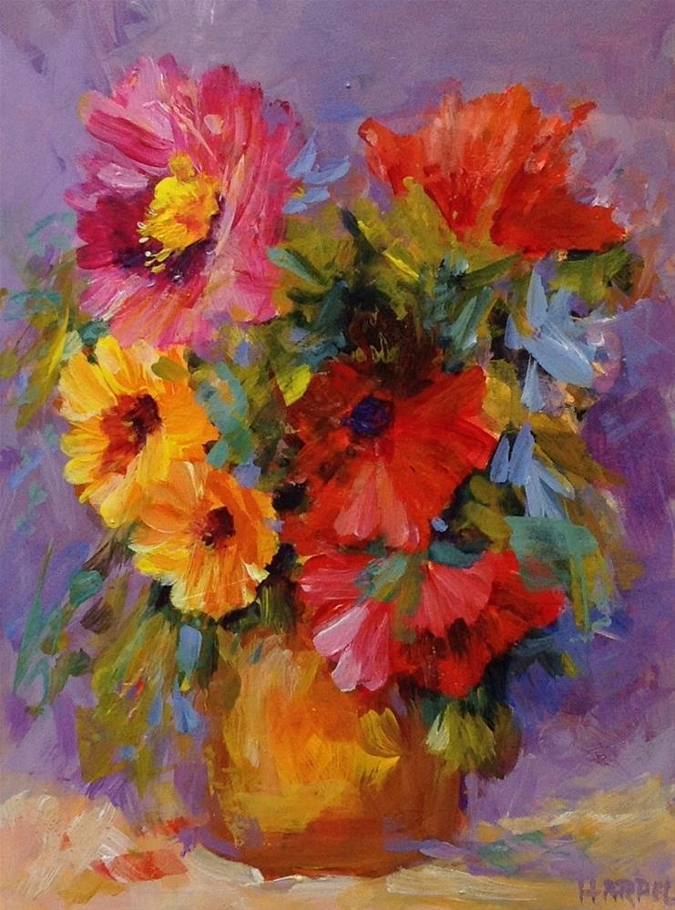 """Original flower floral still life bouquet acrylic painting"" original fine art by Alice Harpel"