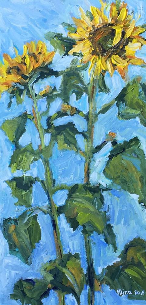 """Two Sunflowers"" original fine art by Alina Vidulescu"