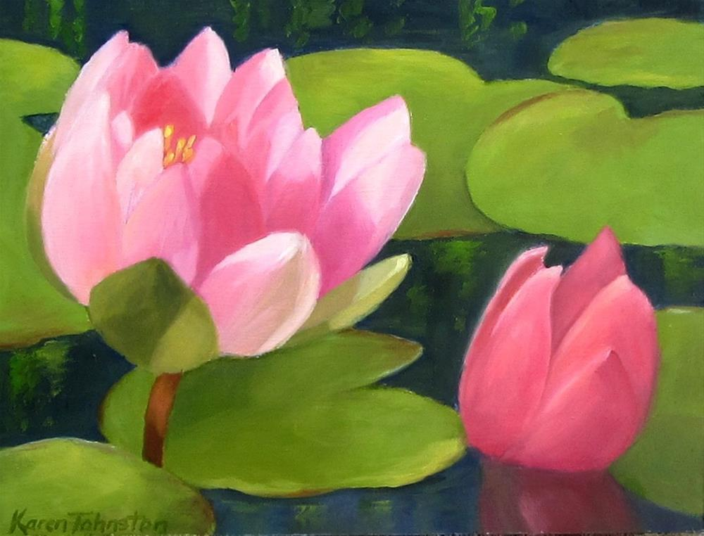 """Waterlilies"" original fine art by Karen Johnston"