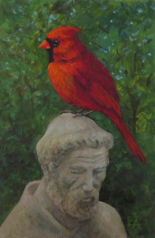 """Cardinal Francis-Framed"" original fine art by Elizabeth Elgin"
