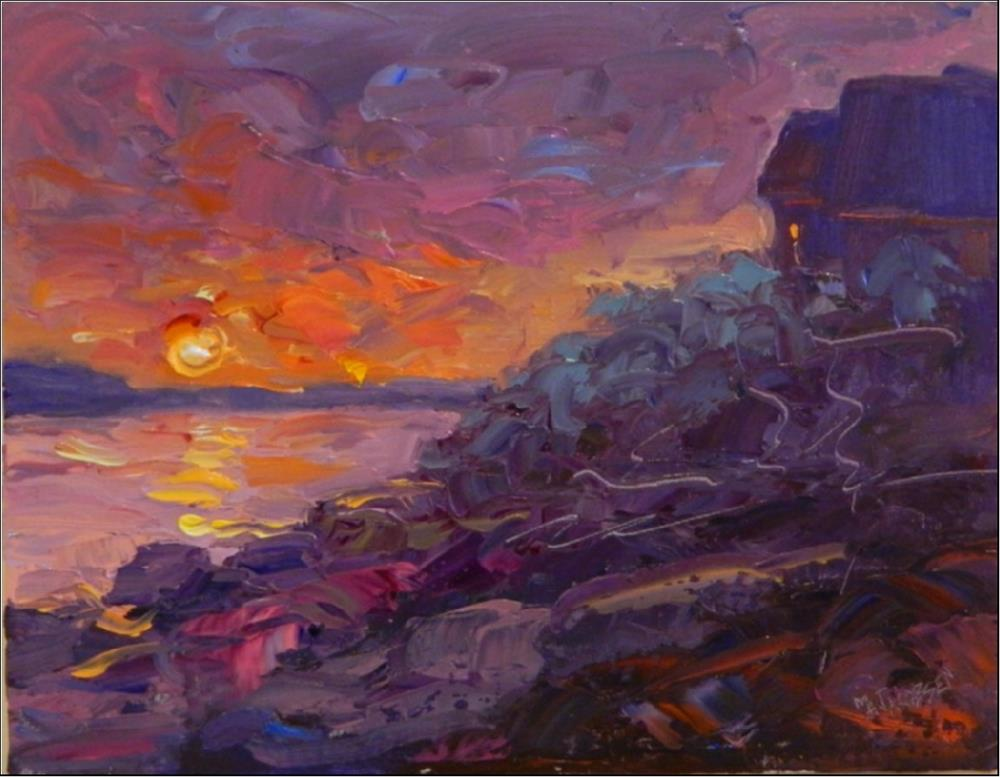 """Sunrise, Gully Point, 11x14, oil on linen, special price! Rockport painting, Gully Cove, sunrise,"" original fine art by Maryanne Jacobsen"
