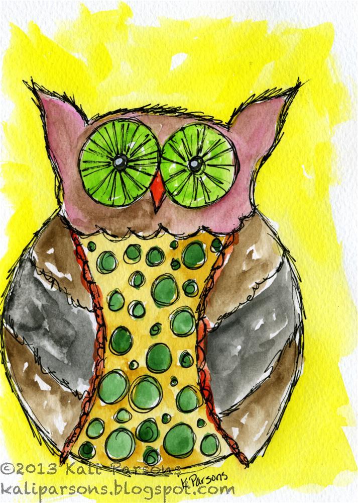 """Bedazzled Owl"" original fine art by Kali Parsons"