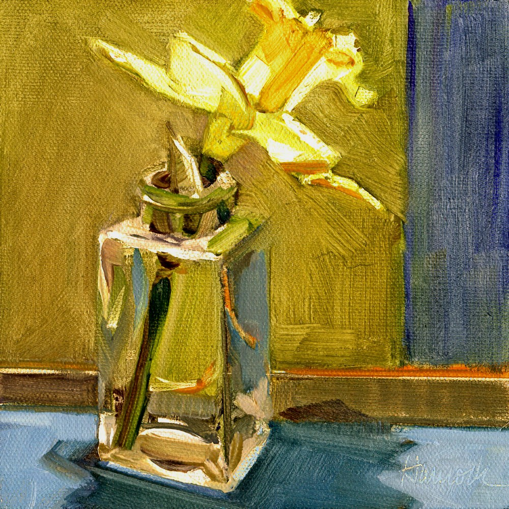 """Daffodil on Gold and Blue"" original fine art by Gretchen Hancock"