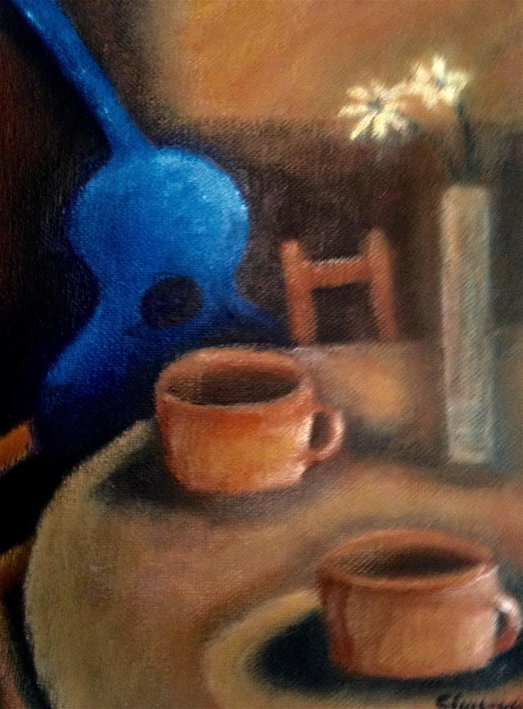 """Coffee, Guitar and Flowers"" original fine art by Giovanni Antunez"