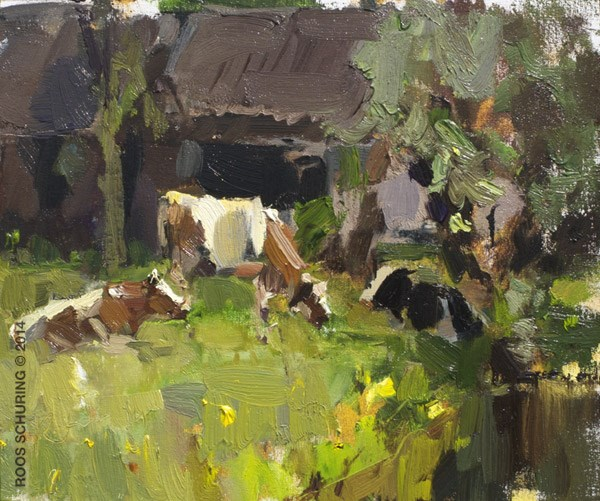 """Cows and Shed in Sunlight and Shade"" original fine art by Roos Schuring"
