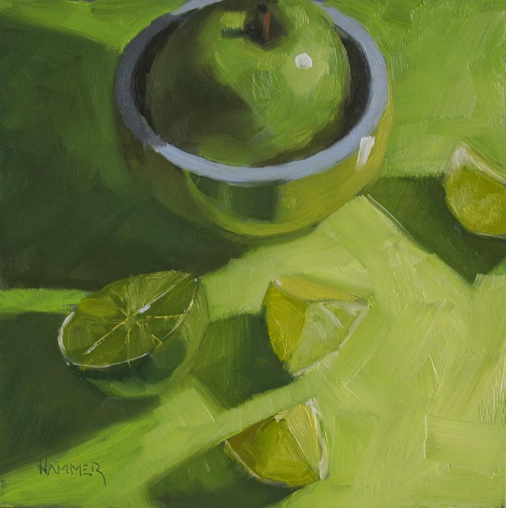"""Study in Green  6x6 oil"" original fine art by Claudia Hammer"
