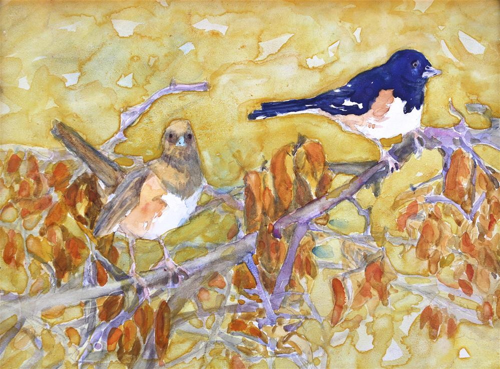 """Eastern Towhee Pair"" original fine art by Michael Saunders"