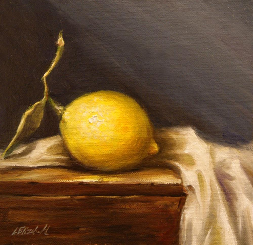 """Lemon with Leaf Still Life,  Oil on 6x6 Linen Panel"" original fine art by Carolina Elizabeth"