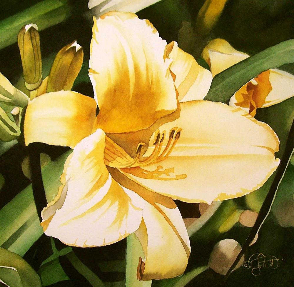 """Lemon Yellow Day Lily"" original fine art by Jacqueline Gnott, whs"