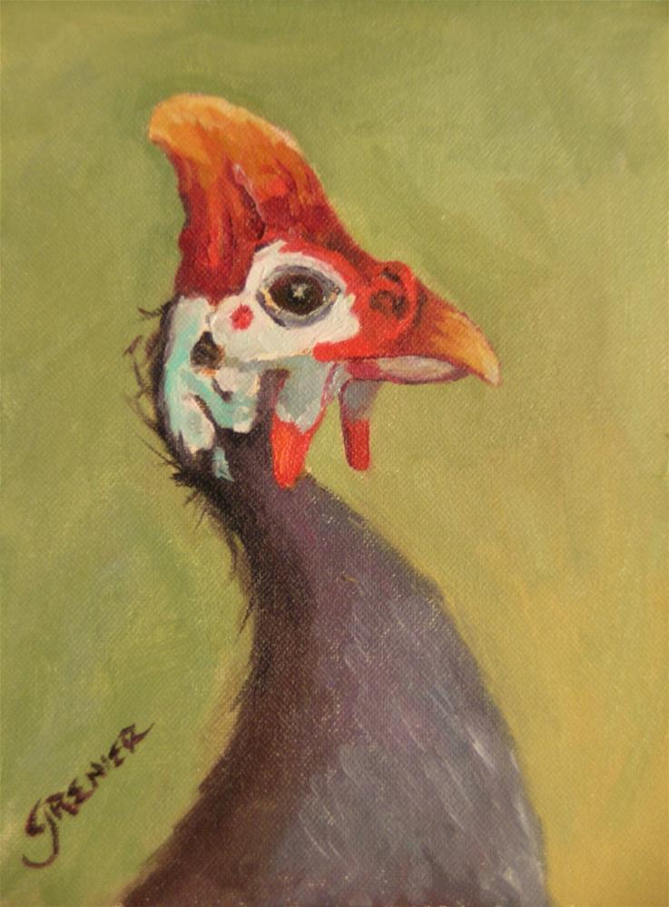 """original oil guinea rooster fowl 6X8 signed Jean Grenier"" original fine art by jean grenier"