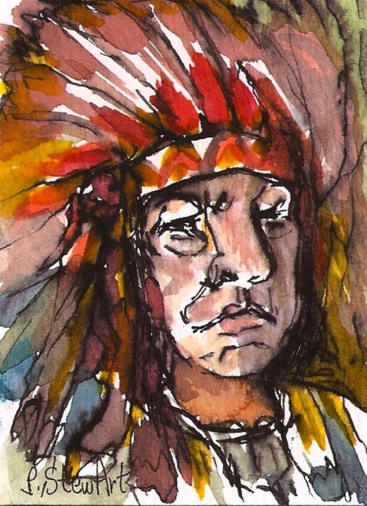 """ACEO Big Chief feather Bonnet Halloween Costume WC & Pen Original Art P StewArt"" original fine art by Penny Lee StewArt"