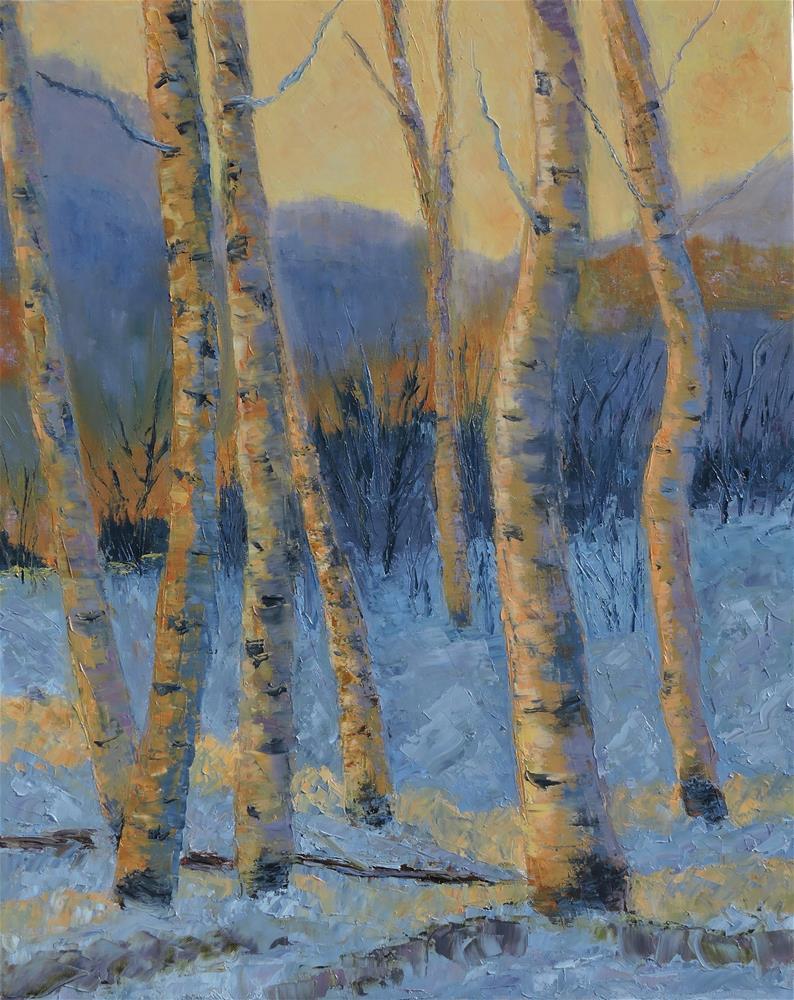 """Aspen trees at Sundown"" original fine art by Linda mooney"