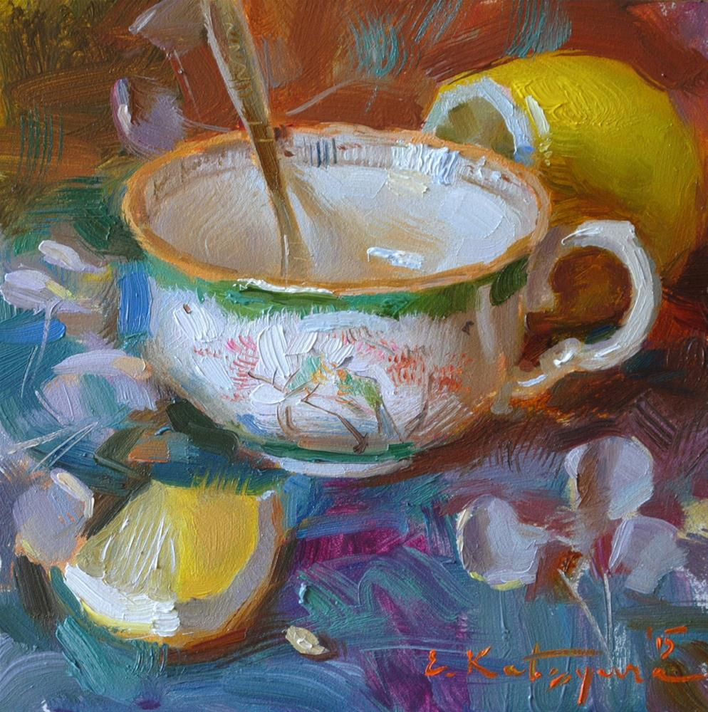 """Green Cup and Lemon"" original fine art by Elena Katsyura"