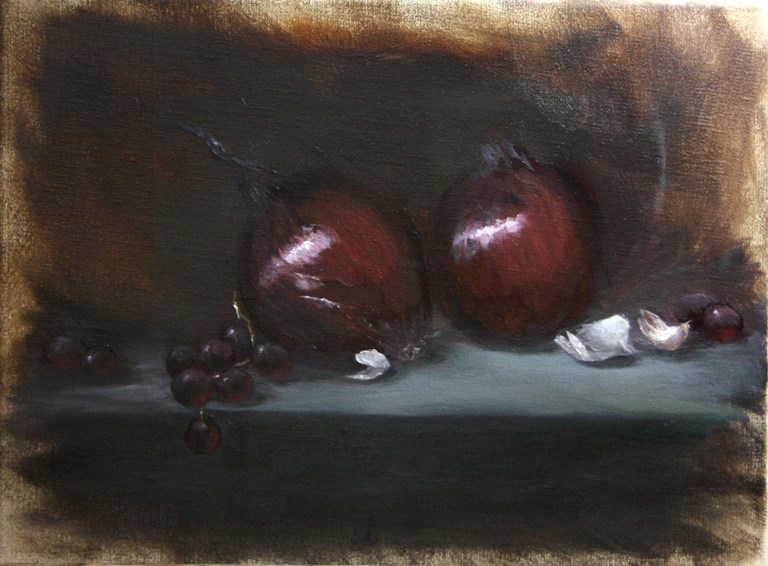 """""""Red Onions and Garlic"""" original fine art by Mary Datum"""