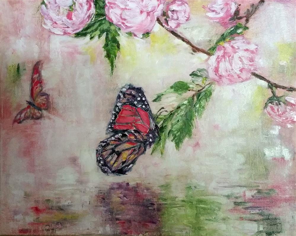"""Butterfly and Roses"" original fine art by Sun Sohovich"