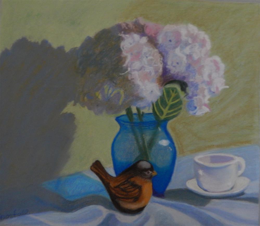 """Still Life with Hydrangeas and Bird Figurine"" original fine art by Elaine Shortall"