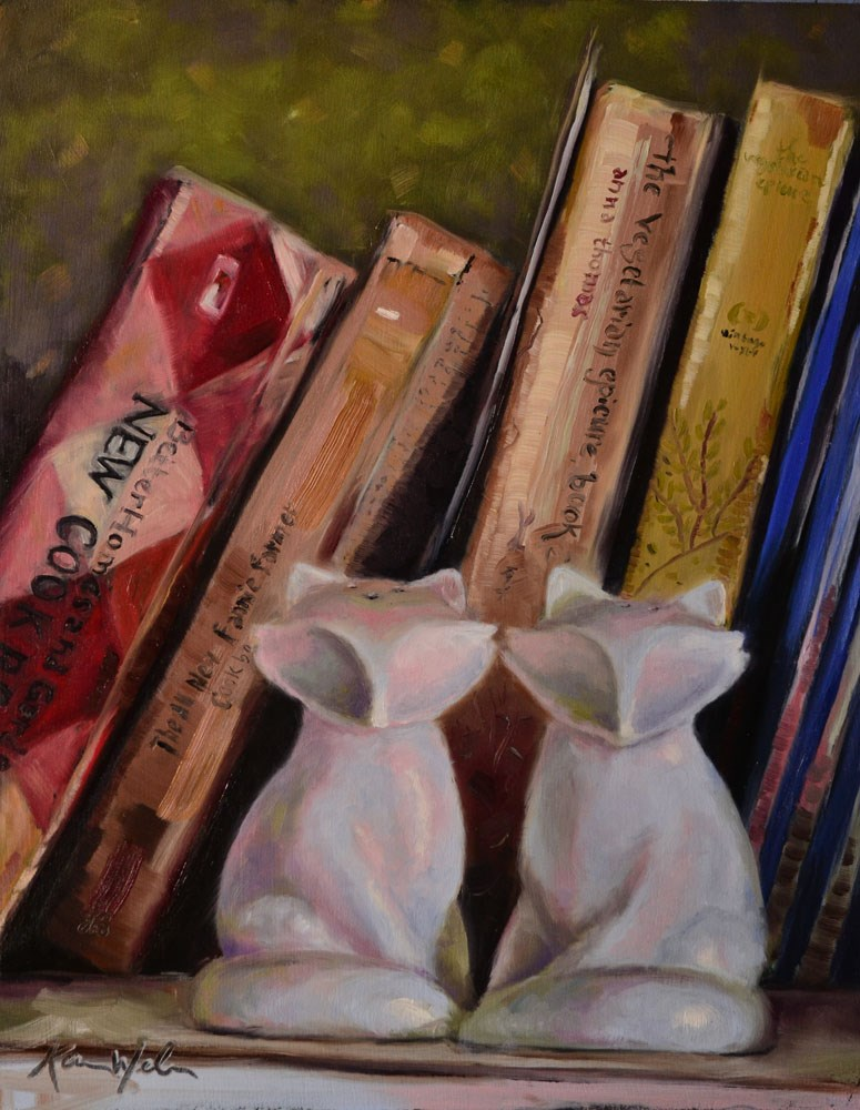 """Foxes and Cookbooks"" original fine art by Karen Weber"