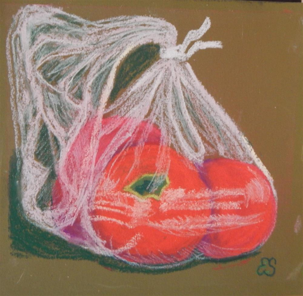 """Bag o' Tomatoes"" original fine art by Elaine Shortall"