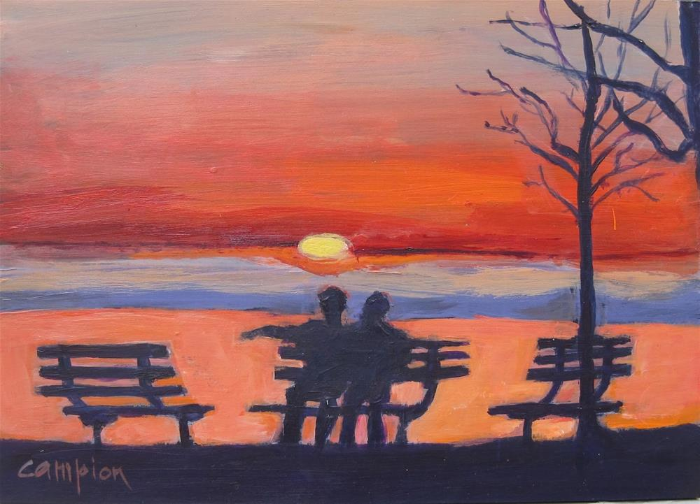 """Sunrise Over Lake Michigan"" original fine art by Diane Campion"
