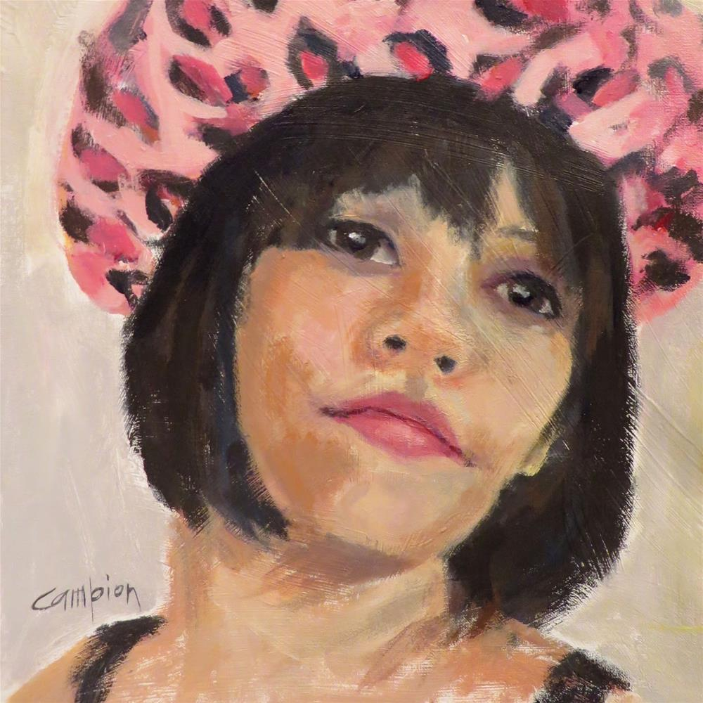 """""""739 Woman With Pink Hat"""" original fine art by Diane Campion"""