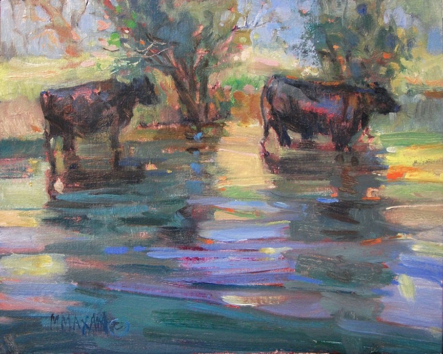 """Cattle Shadows"" original fine art by Mary Maxam"