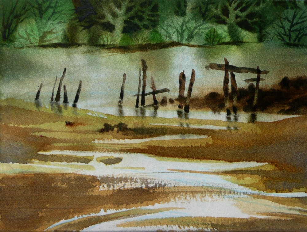 """Ebbing Tide, Spring Estuary"" original fine art by Arena Shawn"