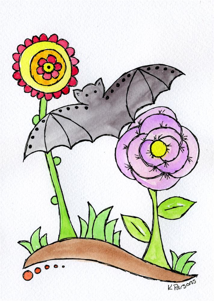 """""""Bat with Flowers...Mexican Bark Style"""" original fine art by Kali Parsons"""