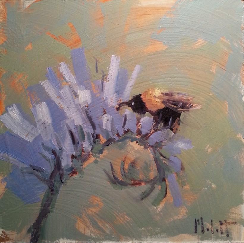 """Buzzing Honeybees in the Garden Original Oil Painting"" original fine art by Heidi Malott"