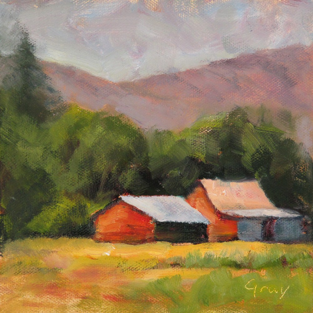 """Two Red Barns"" original fine art by Naomi Gray"