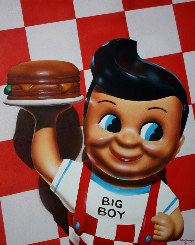 """Bob's Big Boy with Checkered Pattern"" original fine art by Fred Schollmeyer"