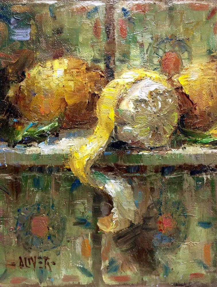 """Lemons & Tile"" original fine art by Julie Ford Oliver"