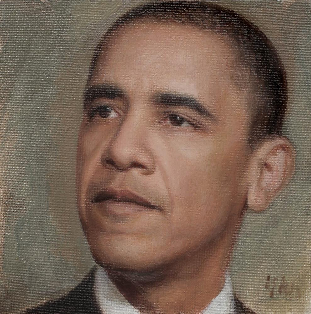 """""""Obama"""" original fine art by Yuehua He"""