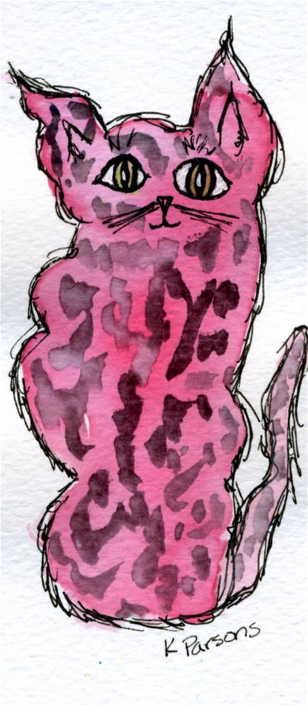 """Pink Kitty"" original fine art by Kali Parsons"