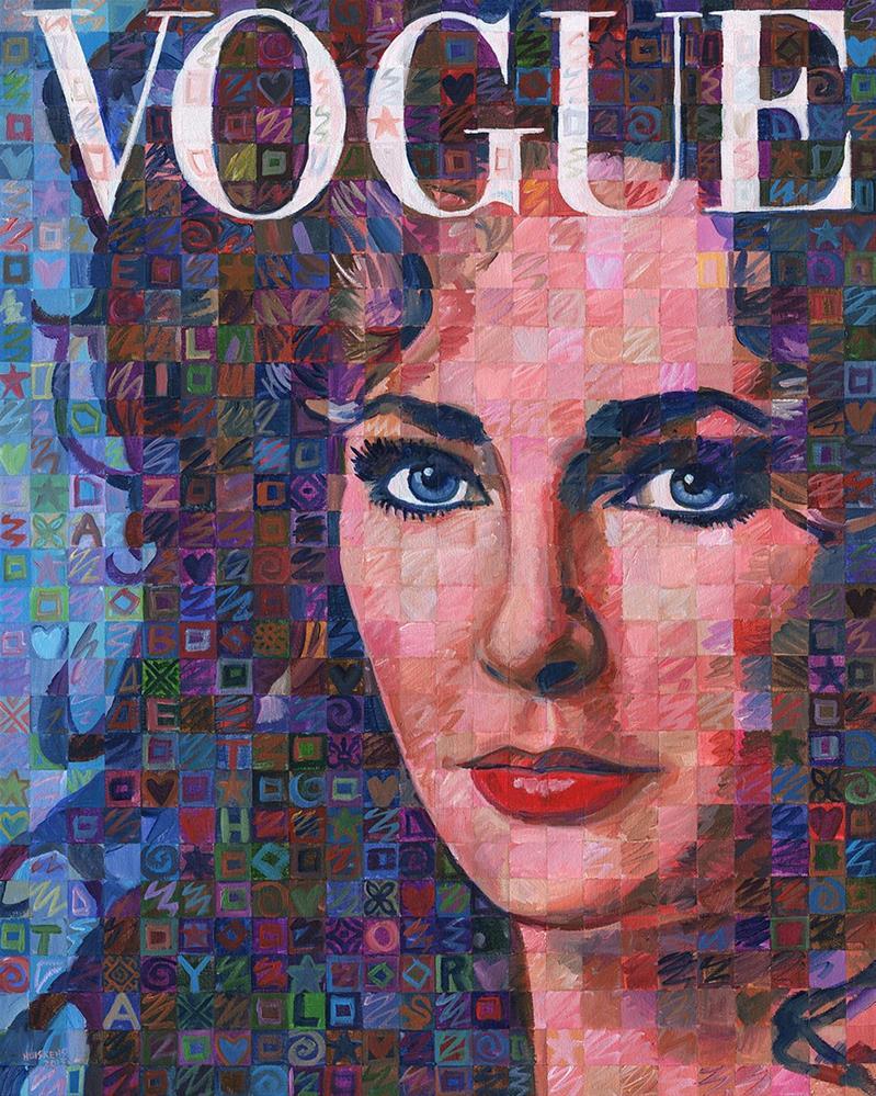 """""""Elizabeth Taylor Vintage Vogue"""" original fine art by Randal Huiskens"""