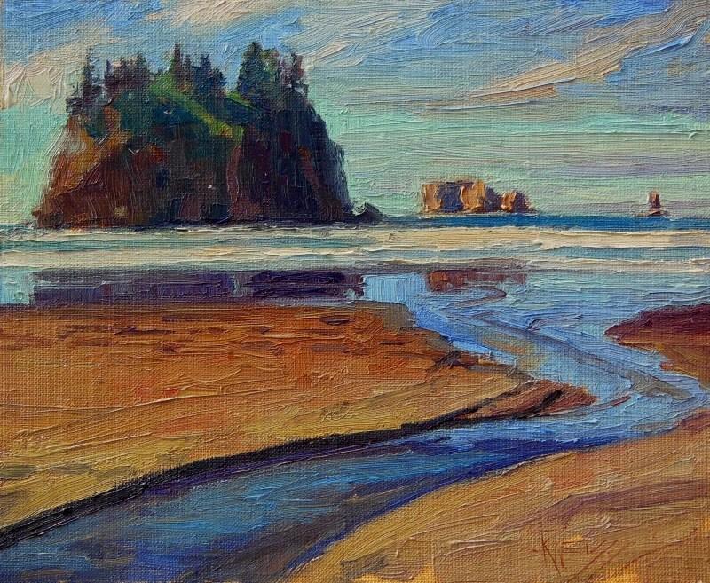 """Second Beach Sea Stack plein air, marinescape by Robin Weiss"" original fine art by Robin Weiss"