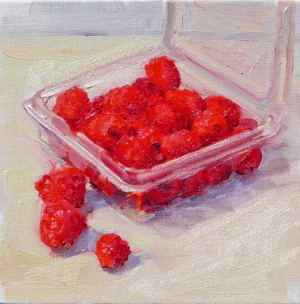 """Fresh Raspberries,still life,oil on canvas,6x6,price$200"" original fine art by Joy Olney"