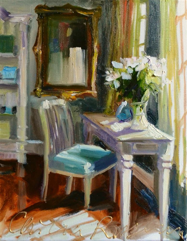"""CHAMBRE BLEUE"" original fine art by Cecilia Rosslee"