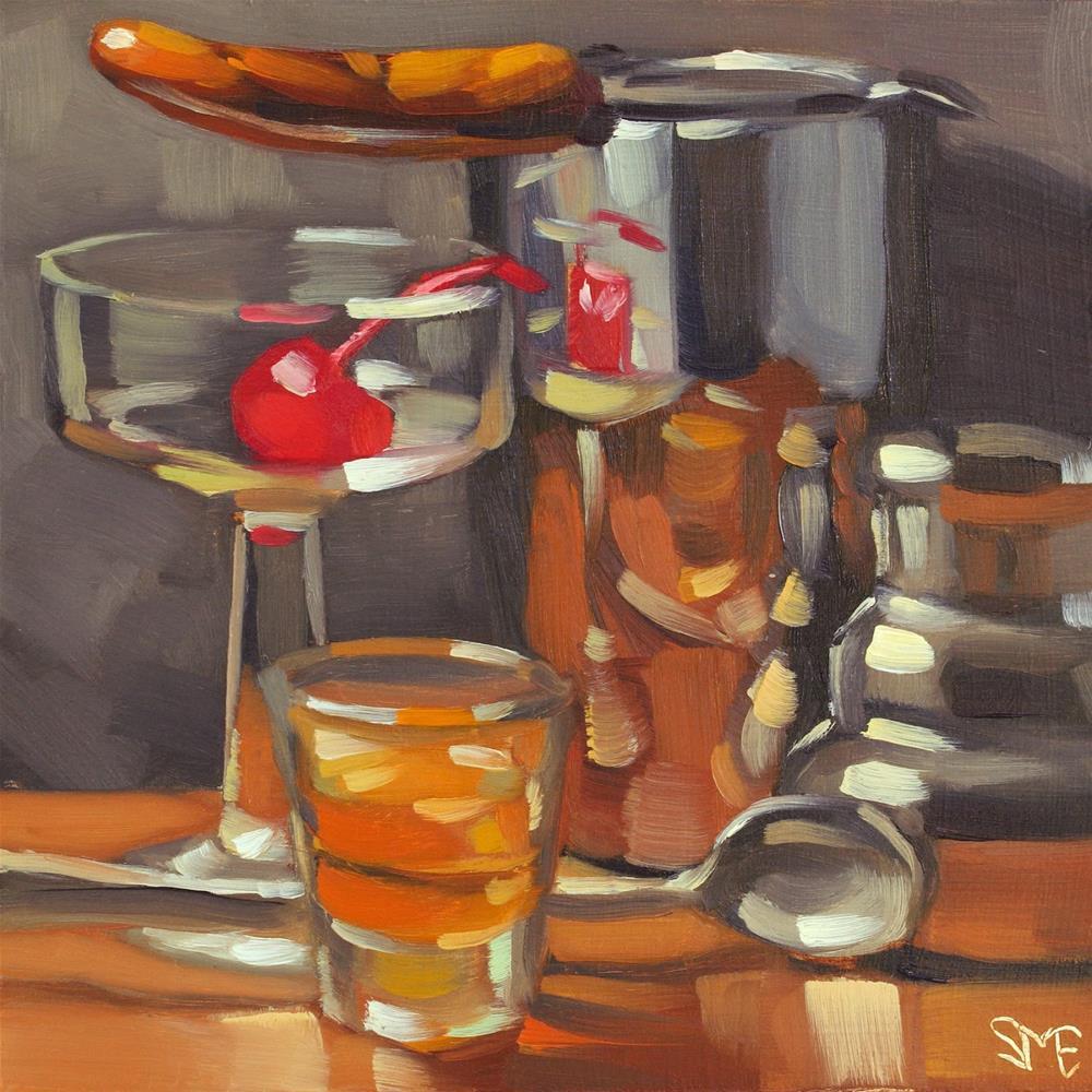 """I'll Make Manhattans"" original fine art by Sheila Evans"