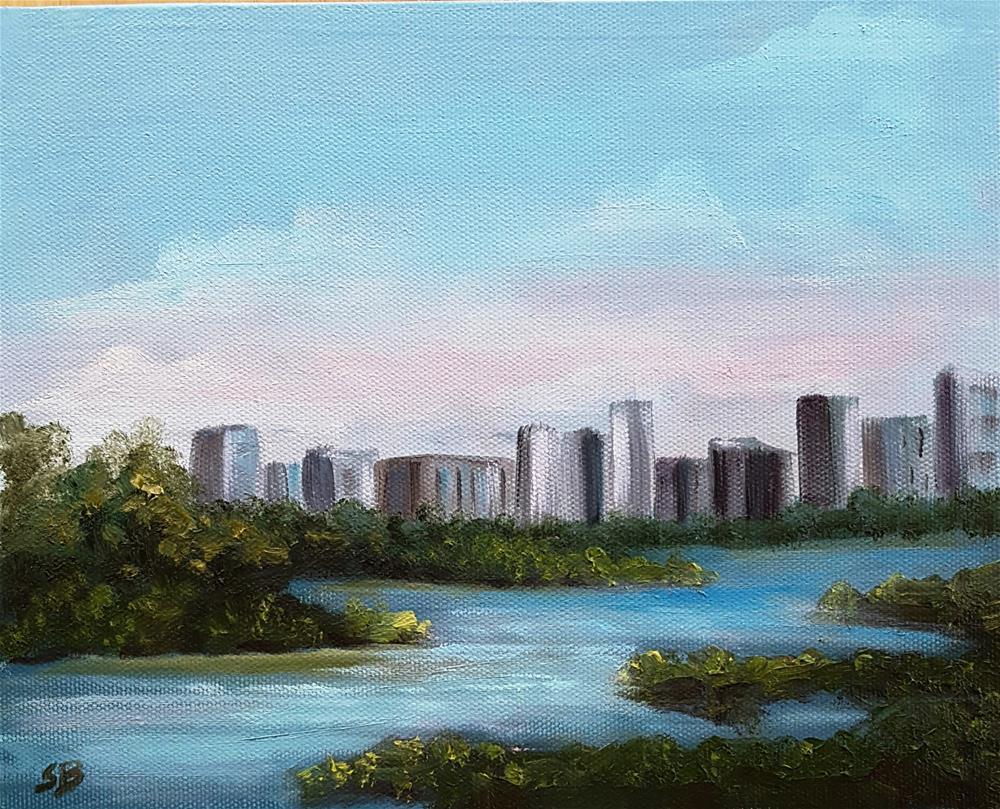"""Miami Waterway  Plein Air"" original fine art by Sissy Blakslee"
