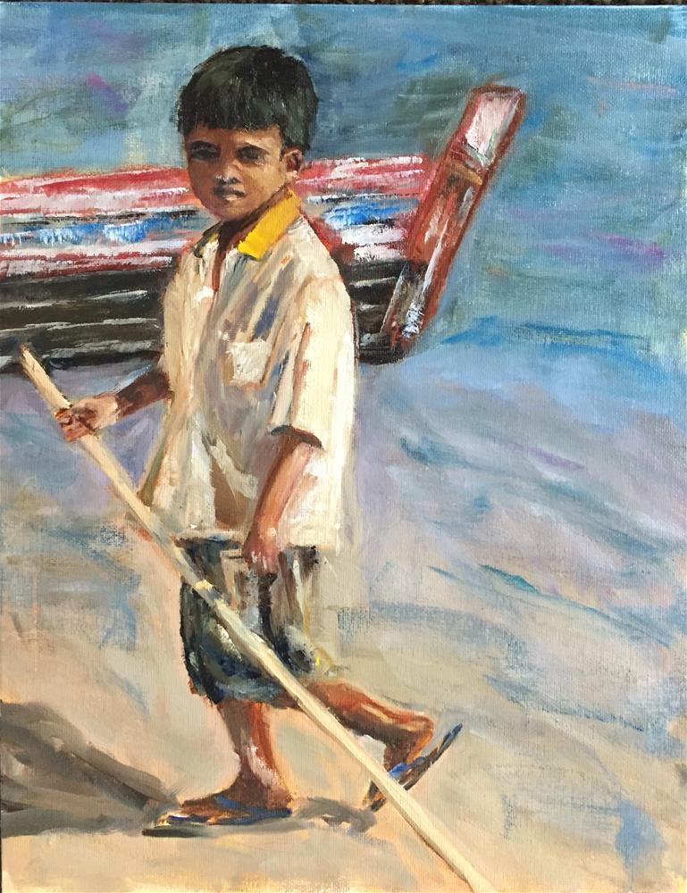 """Myanmar Boat Boy"" original fine art by Renee Robison"