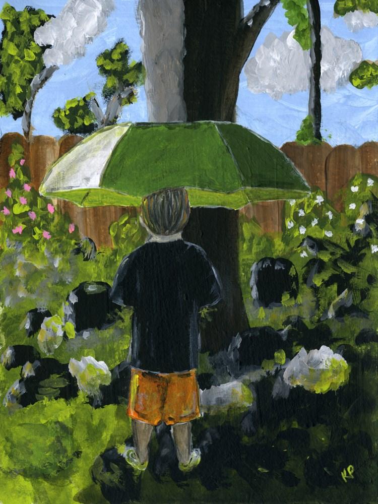 """""""Grandson with Rainbrella (2nd version)"""" original fine art by Kali Parsons"""
