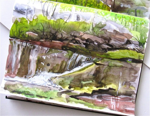 """Plein Air studies of 2 small Waterfalls by Gretchen Kelly, New York Artist"" original fine art by Gretchen Kelly"